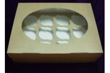 Коробка для капкейков с окном (на 12 шт), 330х250х h100 мм