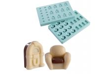 """Форма для конфет """"Ретро-проигрыватель и кресло"""" (в наборе 2 формы)"""