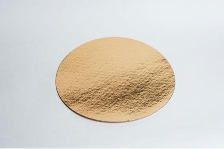 Подложка для торта усиленная, D34 см (толщина 1,5мм), золото/жемчуг, из фольгированного картона