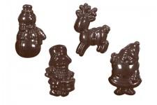 """Форма для шоколадных украшений """"Барабанщик, снеговик, олень, Дед Мороз"""""""