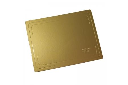 Подложка для торта усиленная, 370х280 мм (толщина 3,2мм), золото/жемчуг, из фольгированного картона