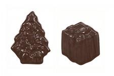 """Форма для шоколадных украшений """"Елочки и подарки"""""""