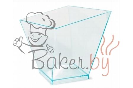 """Стаканчик для десерта """"Квадратный закрученный"""" 120мл (прозрачный с бирюзовым оттенком), 40шт/уп."""