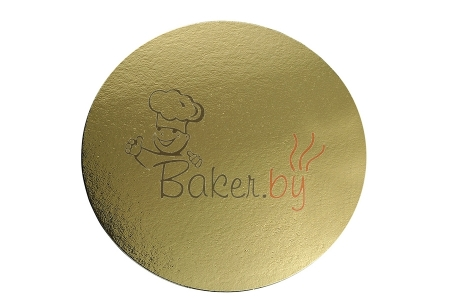 Поднос для торта, D34 см, золото/серебро, из фольгированного картона