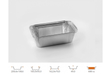 Форма для выпечки прямоугольная 162x70 h49 мм, 100 шт.