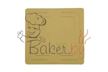 Подложка для торта усиленная, 300х300 мм (толщина 3,2мм), золото/жемчуг, из фольгированного картона