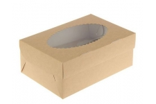 Коробка для капкейков с окном (на 2 шт), 100х160х h100 мм