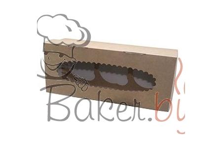 Коробка для капкейков с окном (на 3 шт), 250х100х h100 мм