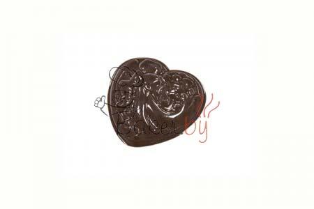 """Форма для шоколадных украшений """"Сердце с рисунком"""""""