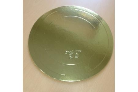 Подложка для торта усиленные односторонняя, D34 см (толщина 2.5мм), золото, из фольгированного картона